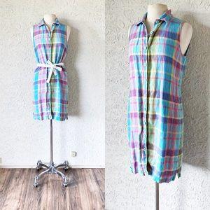 Pastel Plaid Longline Linen Dress | Vintage